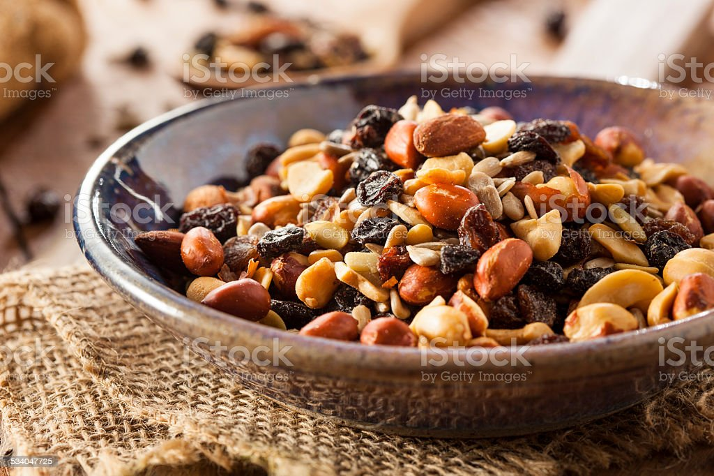 Raw Organic Homemade Trail Mix stock photo