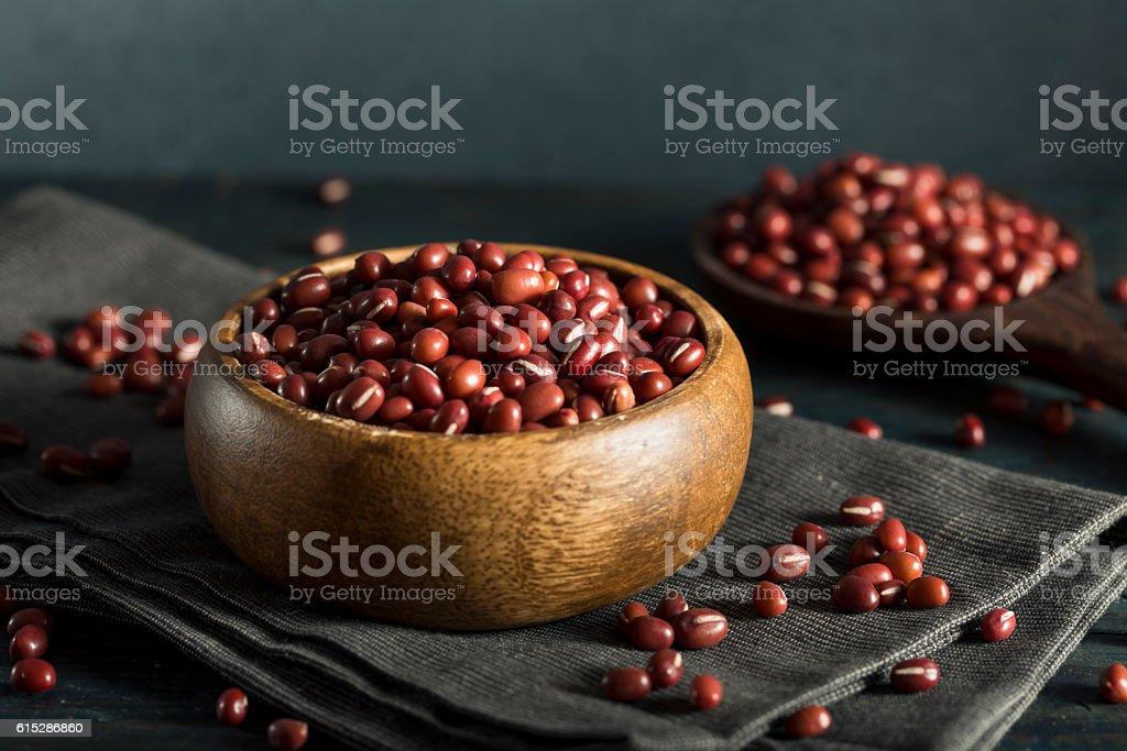 Raw Organic Red Adzuki Beans stock photo