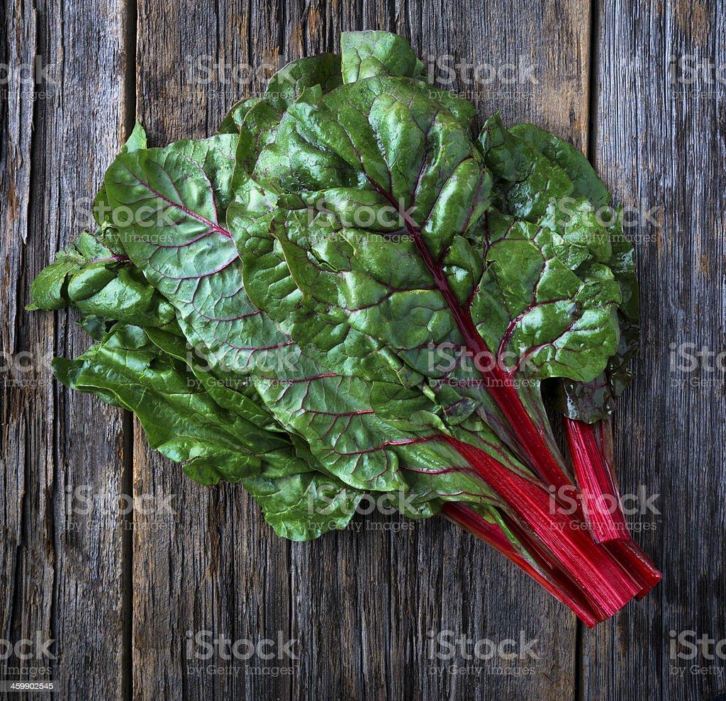 Raw Organic Red Ruby Swiss Chard stock photo
