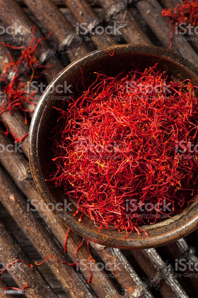 Raw Organic Red Saffron Spice stock photo