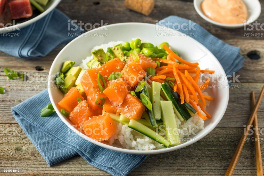 Raw Organic Salmon Poke Bowl stock photo