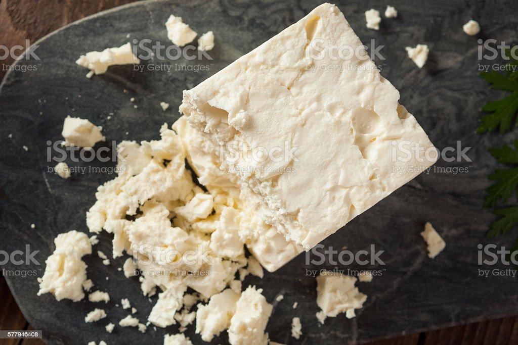 Raw Organic White Feta Cheese stock photo