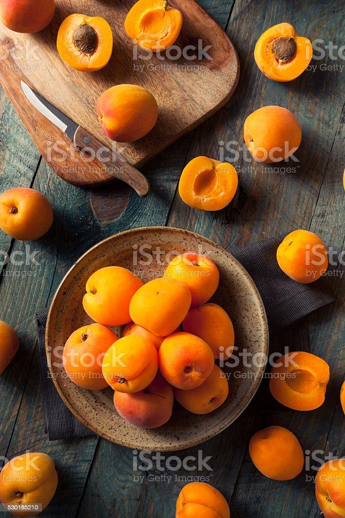 Raw Organic Yellow Apricots stock photo