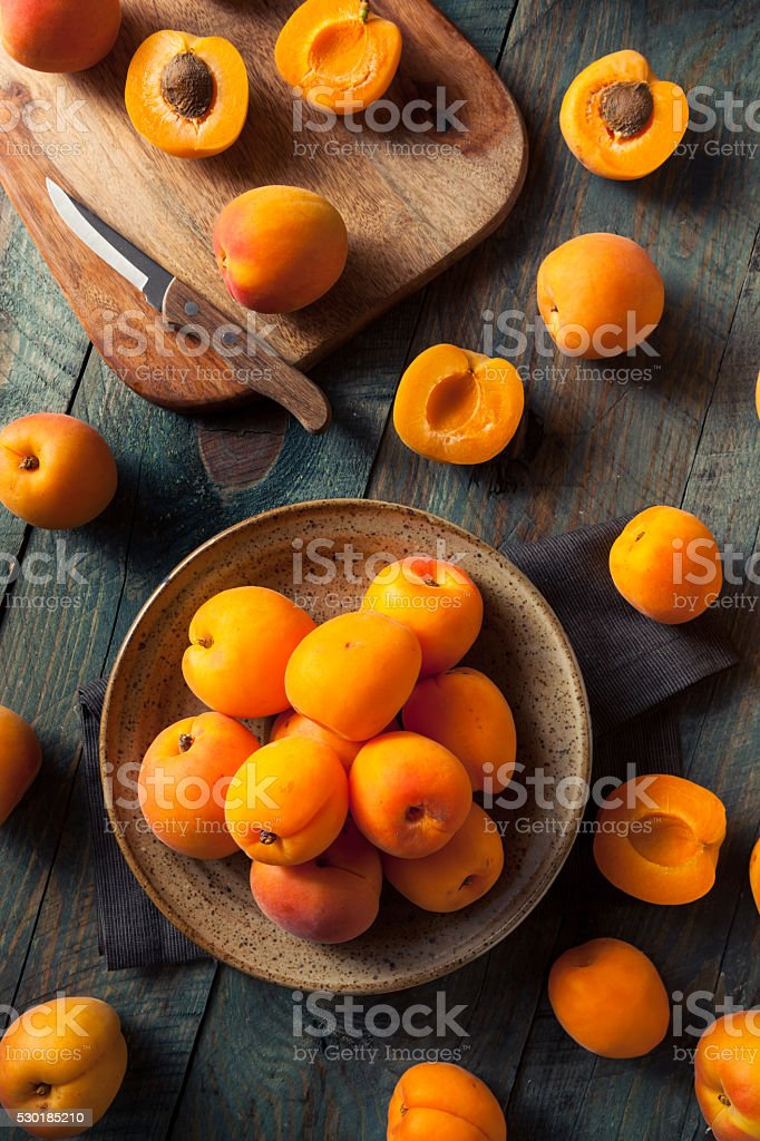 Raw Organic Yellow Apricots stock photo