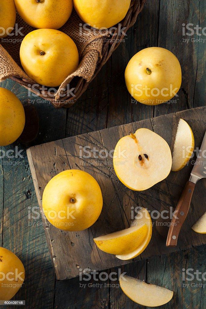 Raw Organic Yellow Asian Apple Pears stock photo