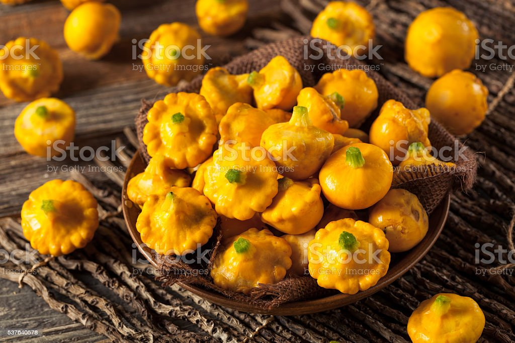 Raw Organic Yellow Pattypan Squash stock photo