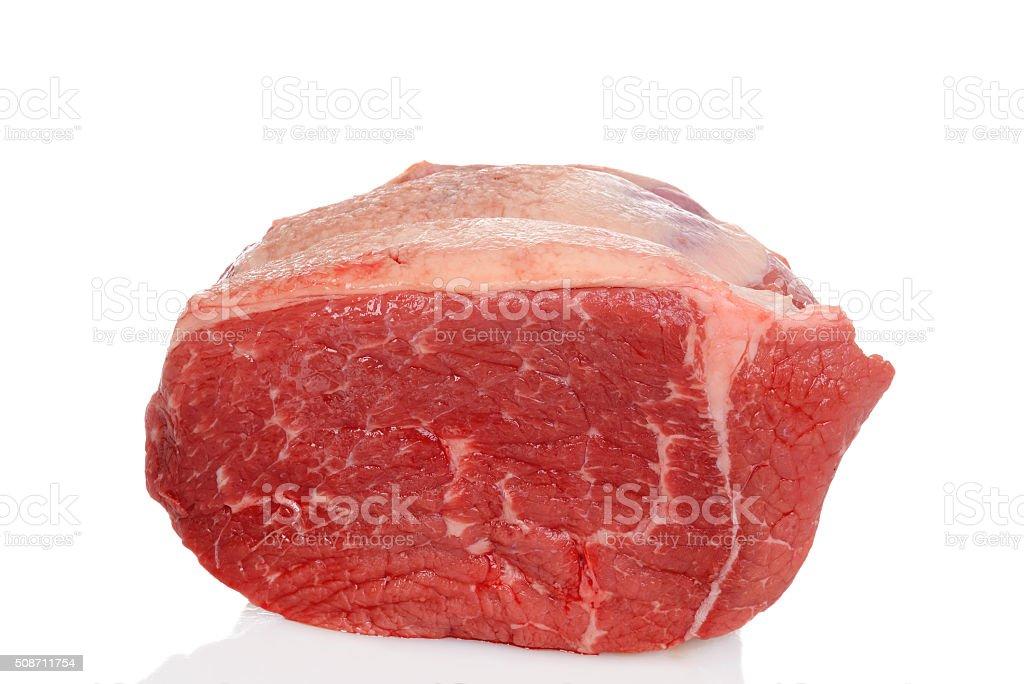 raw outside round beef roast stock photo