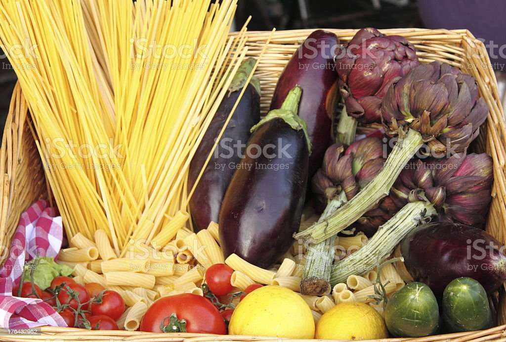 Raw pasta and fresh vegetables royalty-free stock photo