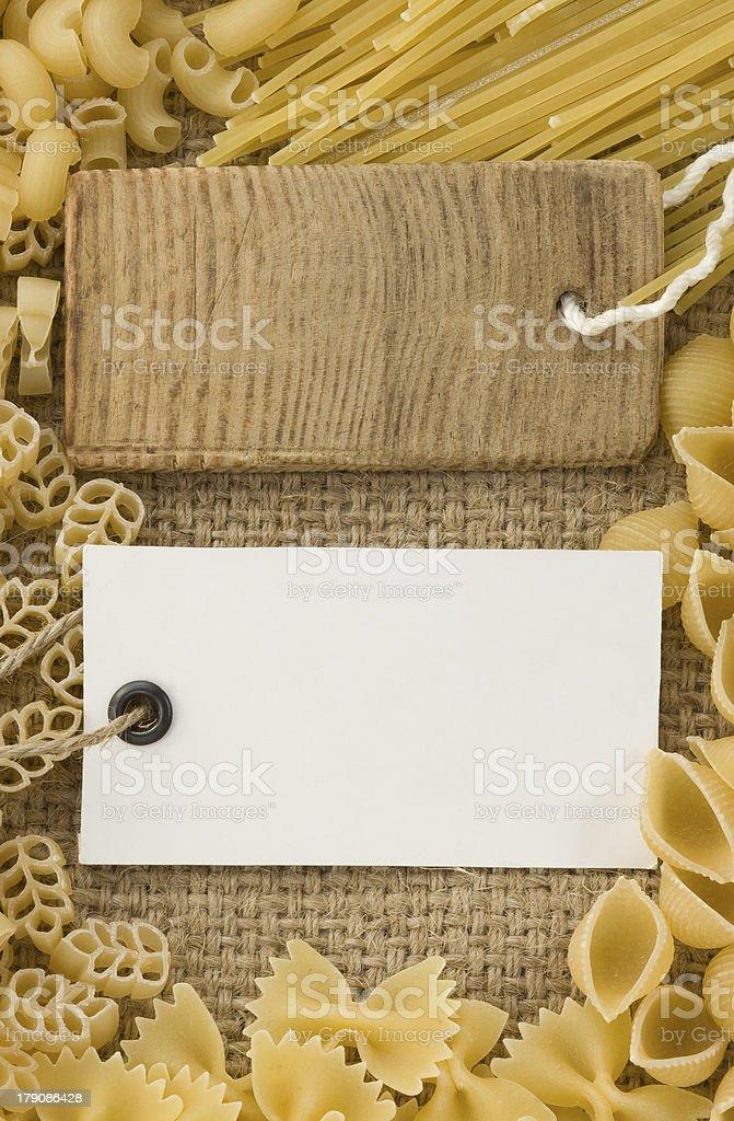 raw pasta on sack royalty-free stock photo