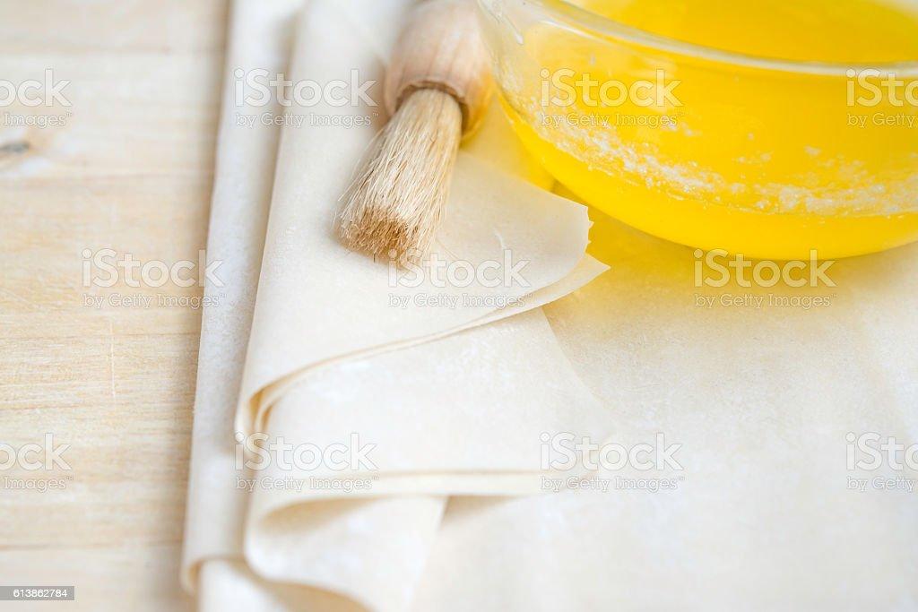 Raw Phyllo Dough Sheets stock photo