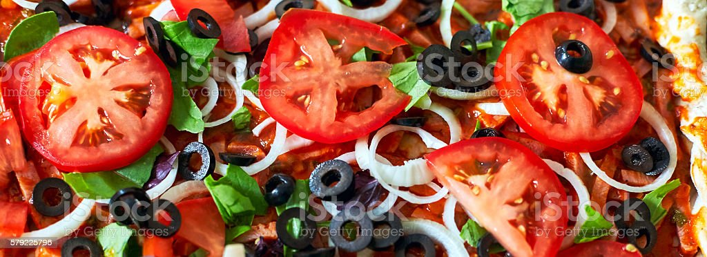 Raw pizza close up top view, pizza banner stock photo