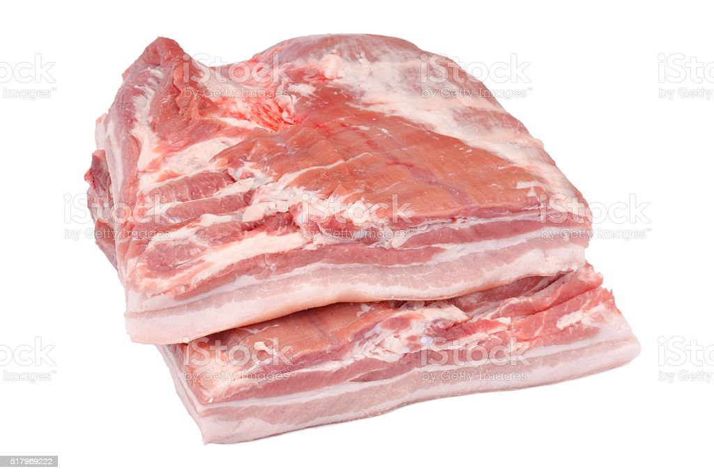 raw pork belly on the white background stock photo