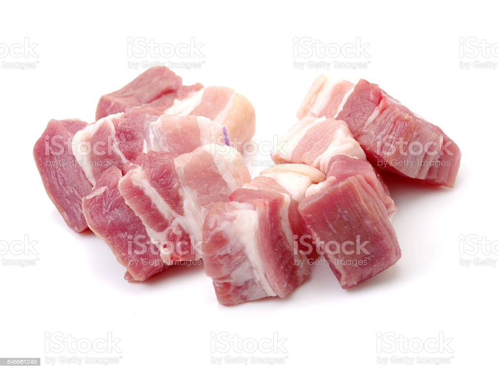 Raw pork belly pieces stock photo