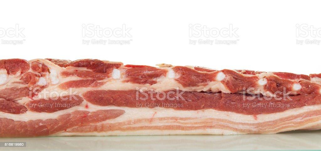 Raw pork brisket isolated on white. stock photo