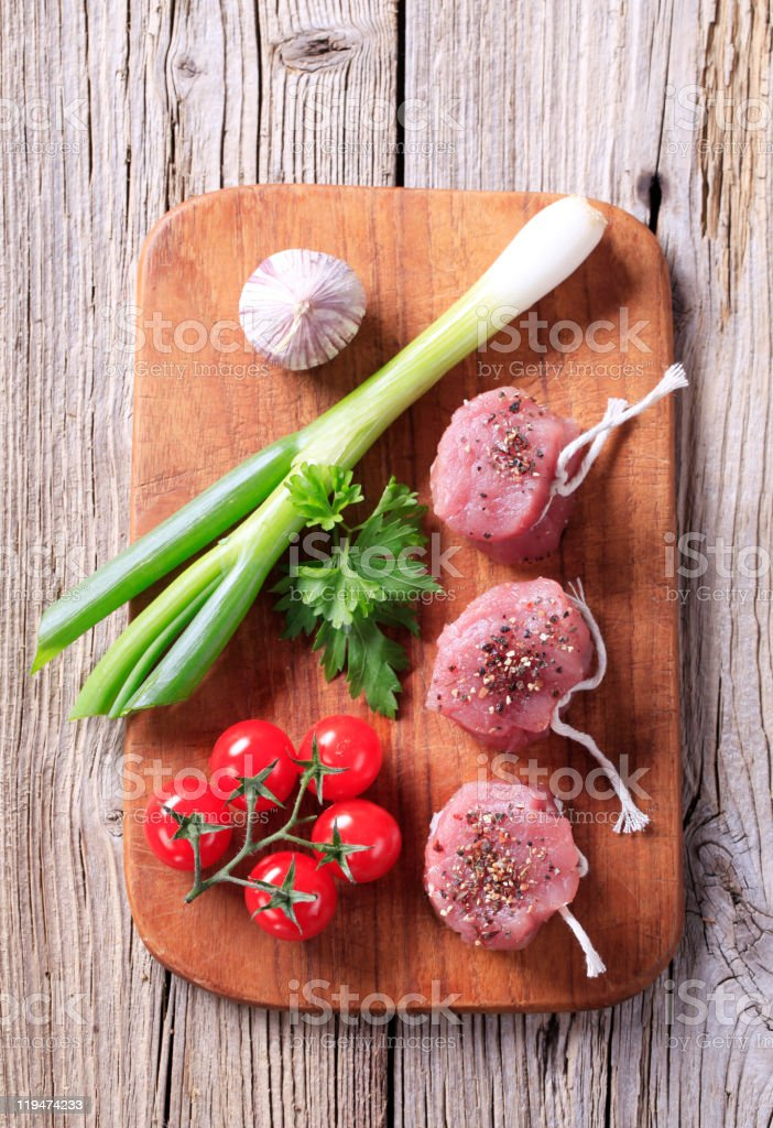 Raw pork filet mignons royalty-free stock photo