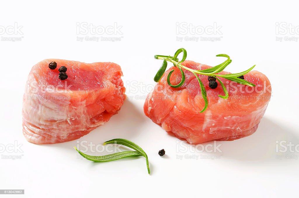 Raw Pork Fillet Medallions stock photo