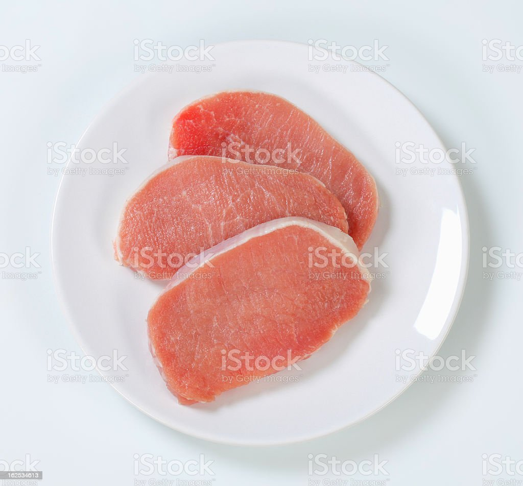 raw pork loin chops on a plate royalty-free stock photo