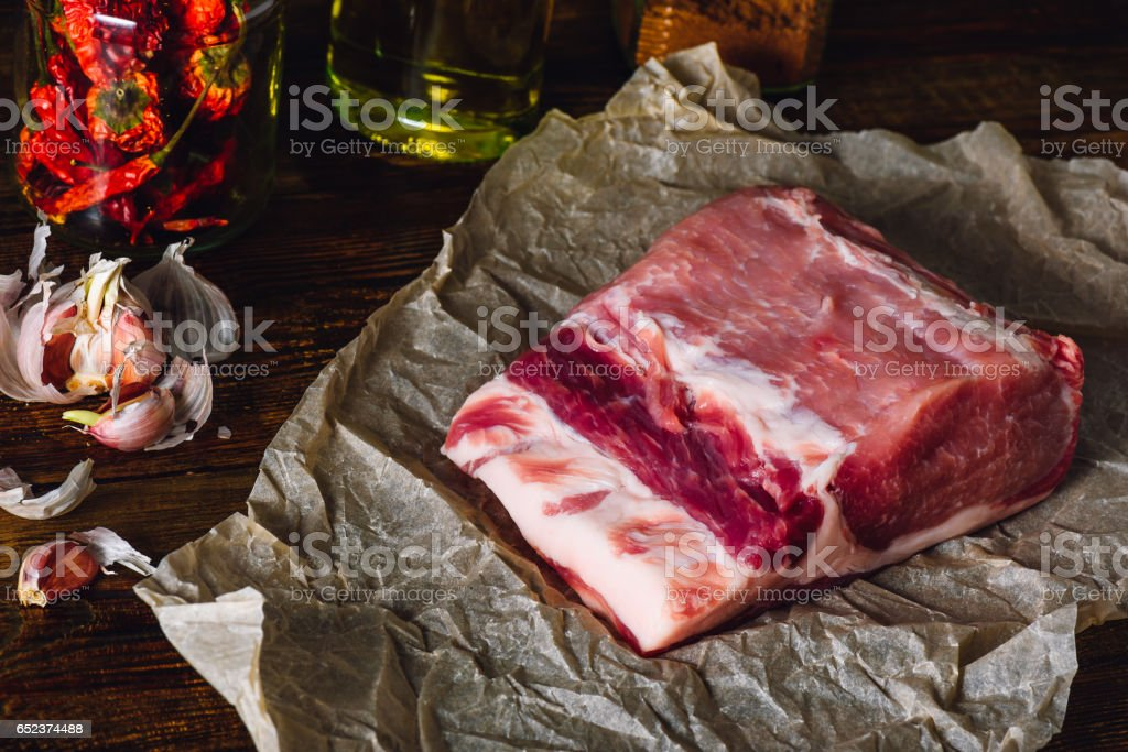 Raw Pork Loin stock photo