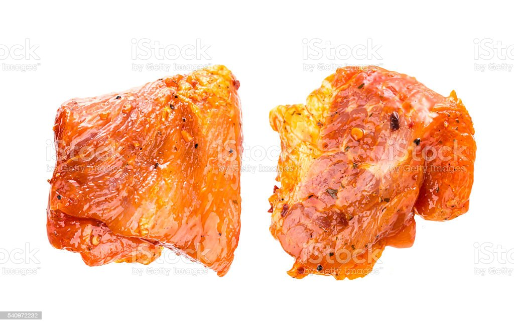 Raw pork meat isolated on white background. stock photo