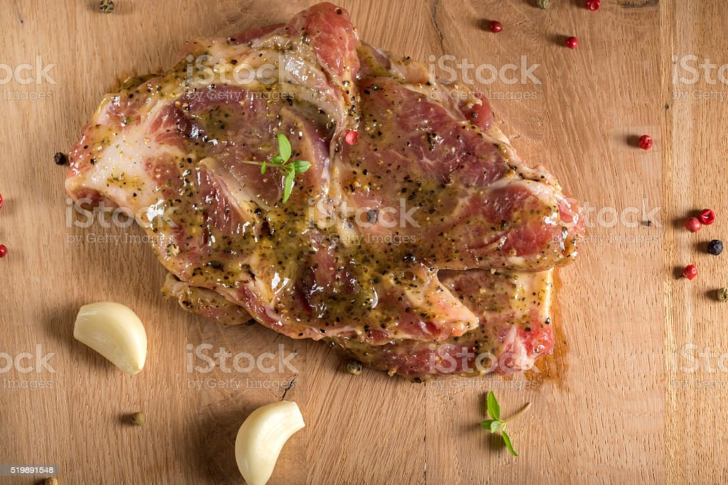 Raw pork neck stock photo