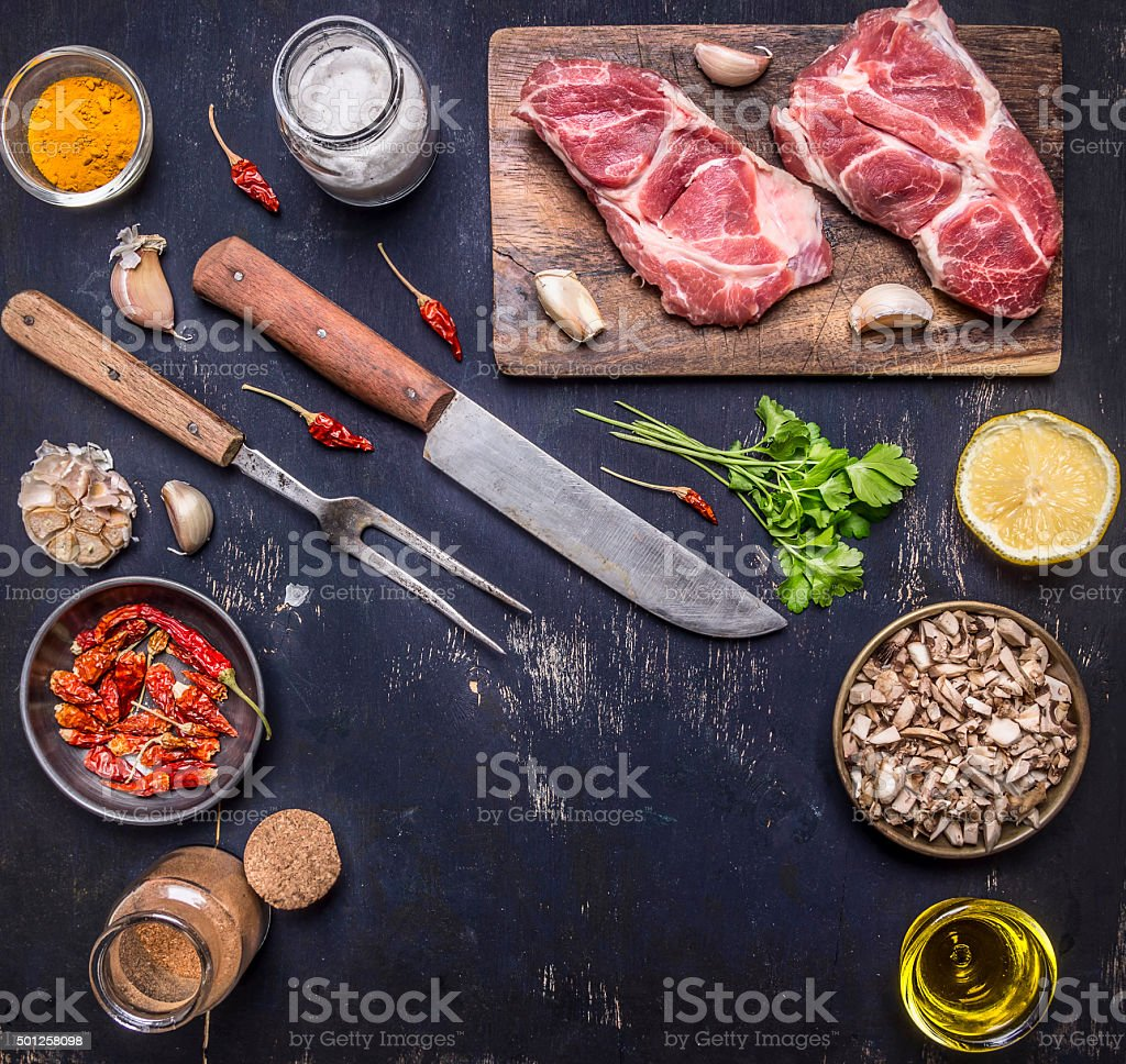 raw pork steak  cutting board  knife background place text,frame stock photo