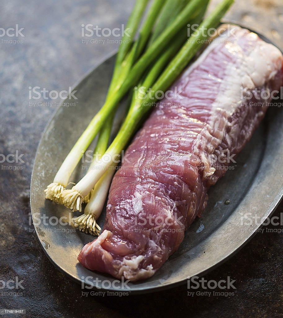 raw pork tenderloin royalty-free stock photo