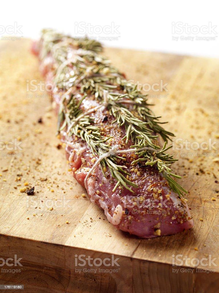 Raw Pork Tenderloin Roast With Rosemary royalty-free stock photo