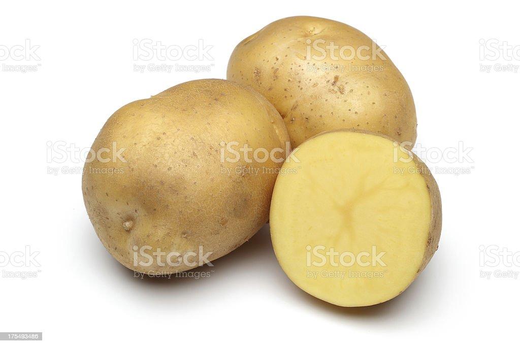 Raw Potato Full body and Freshly cut Isolated on white stock photo