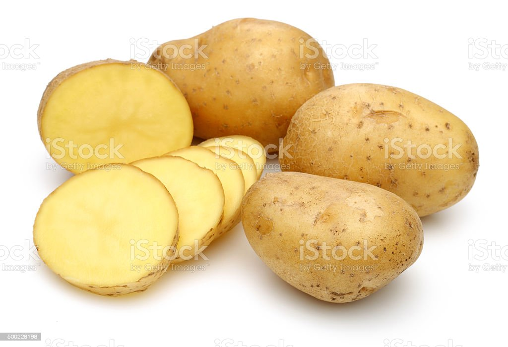 Raw Potato Full body and Freshly cut stock photo