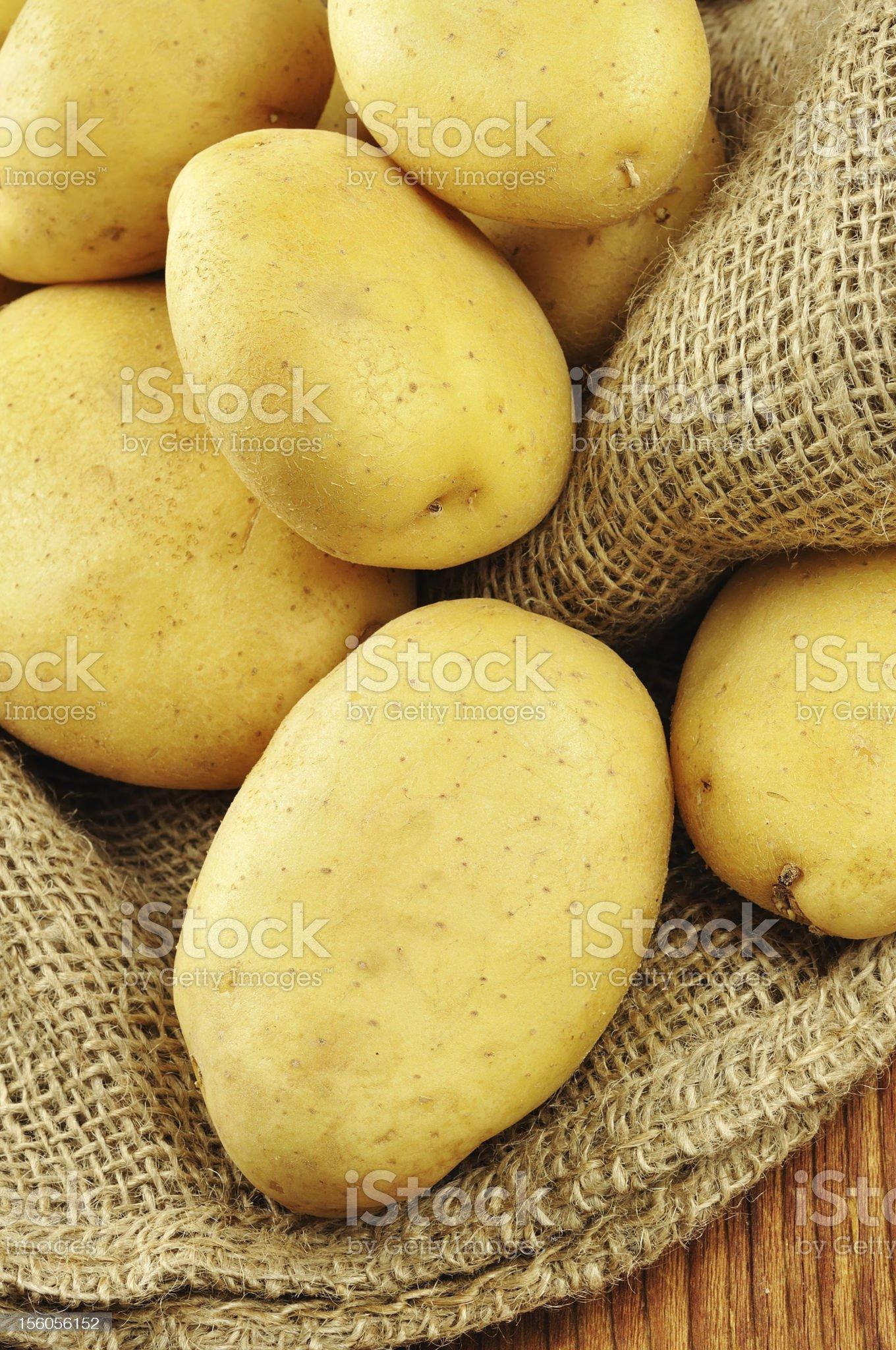 Raw potatoes in jute sack royalty-free stock photo