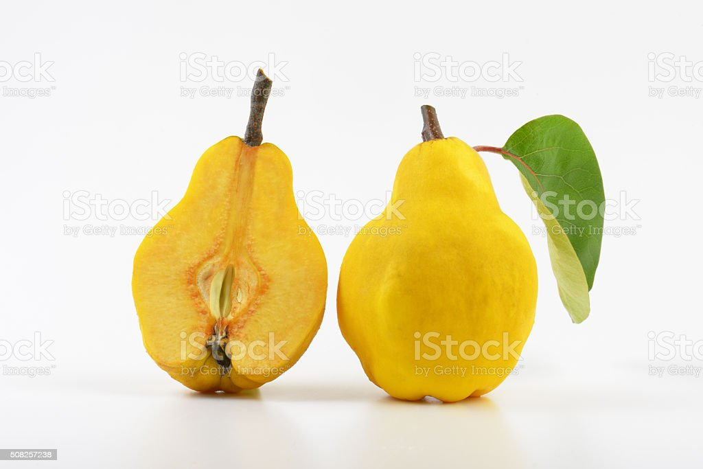 Raw quince stock photo