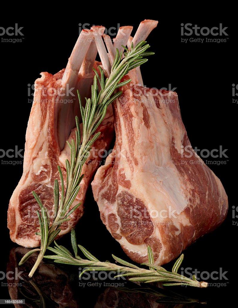 Raw rack of lamb, isolated royalty-free stock photo