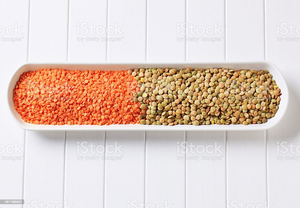 Raw red and brown lentils royalty-free stock photo