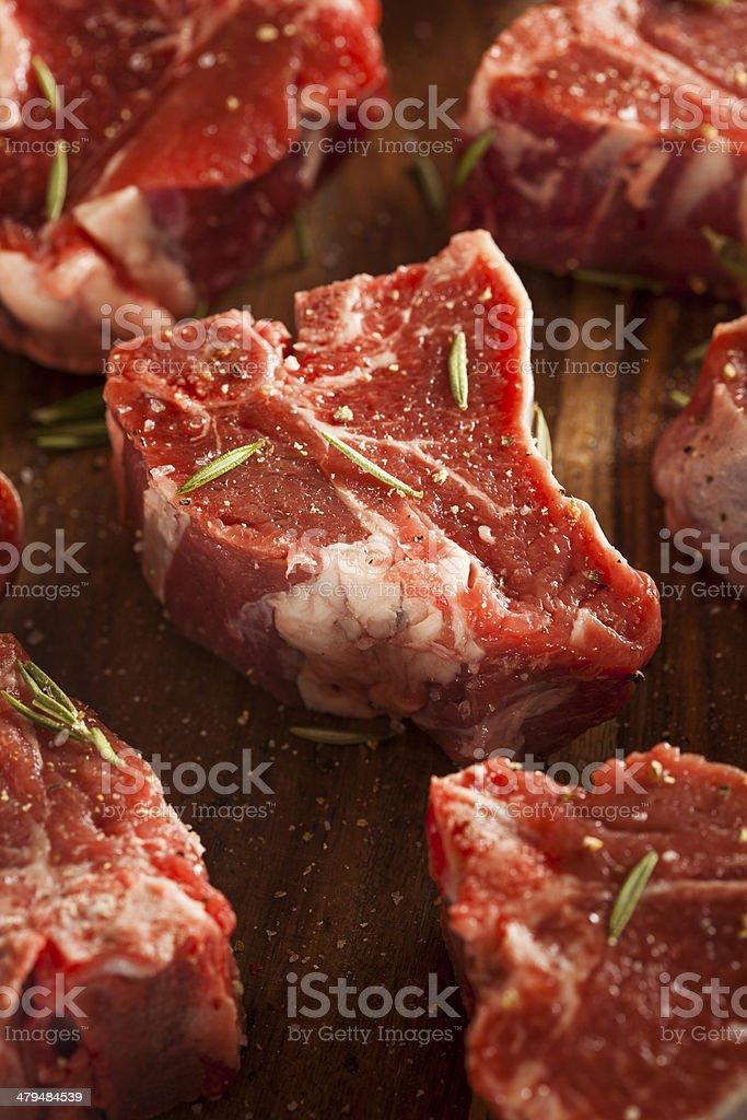 Raw Red Lamb Chops stock photo