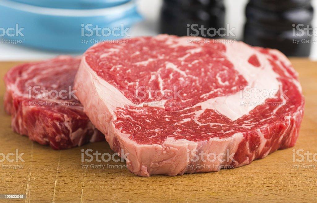 Raw ribeye steak stock photo