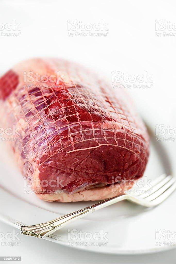 Raw Roast Beef stock photo
