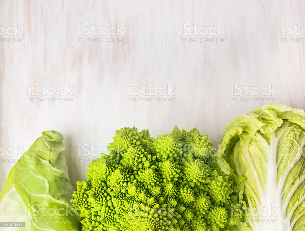 Raw Romanessco , Chinese and pointed cabbage stock photo