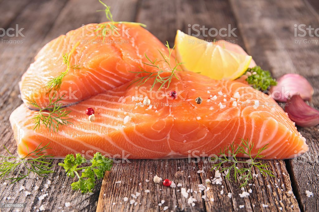 raw salmon fillet stock photo