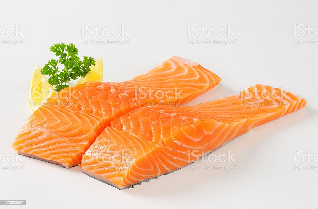 Raw salmon fillets royalty-free stock photo