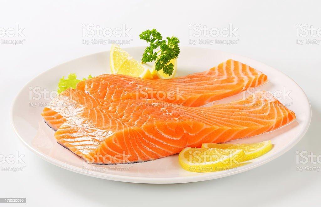 Raw salmon fillets royalty-free stock photo