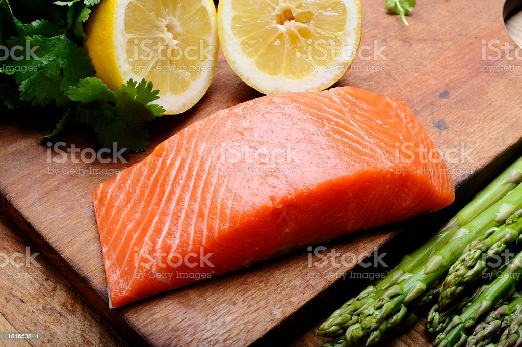 Raw Salmon stock photo