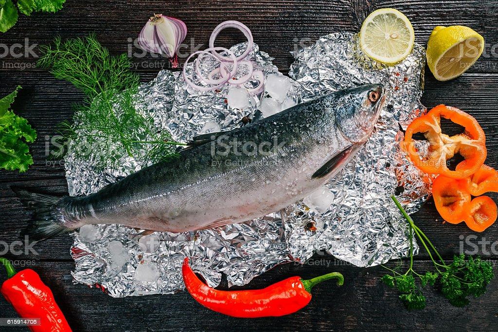 Raw salmon preparing stock photo
