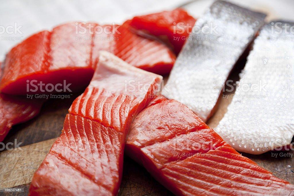 Raw Salmon Slices royalty-free stock photo