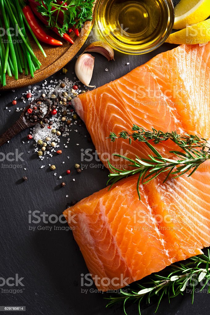 Raw salmon steak stock photo