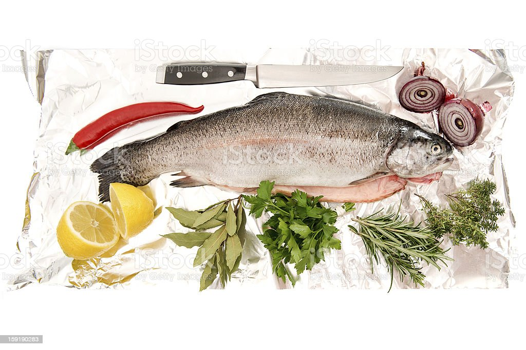 raw salmon trout fish with fresh herbs and spices royalty-free stock photo
