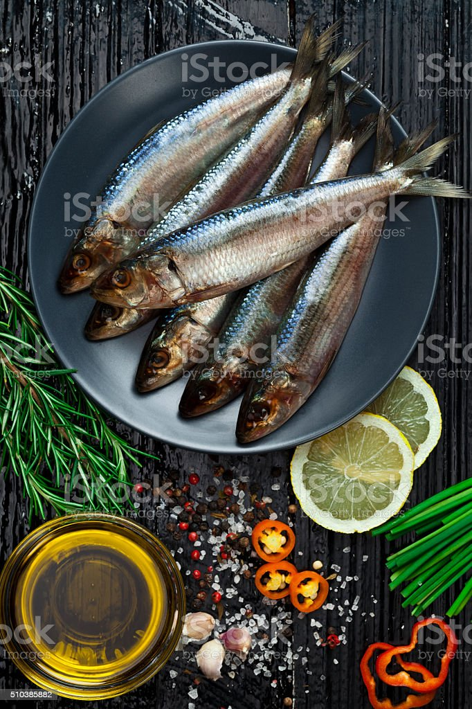 Raw sardines stock photo