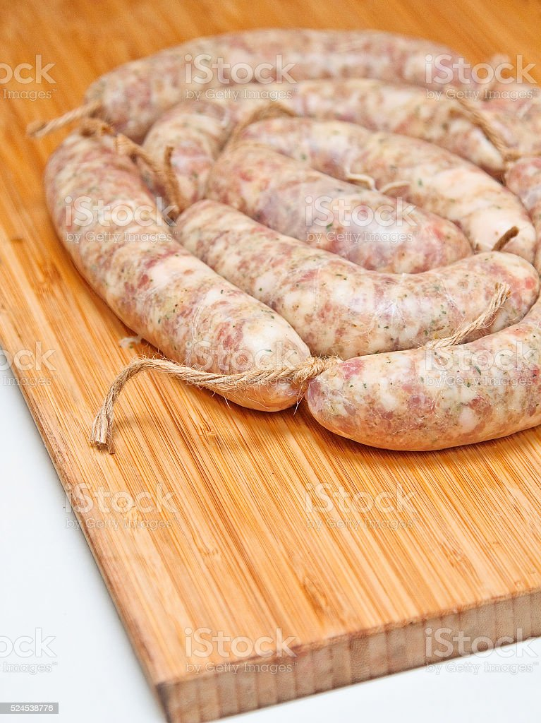 Raw sausage for frying. Ukrainian food. Polish cuisine. Homemade stock photo