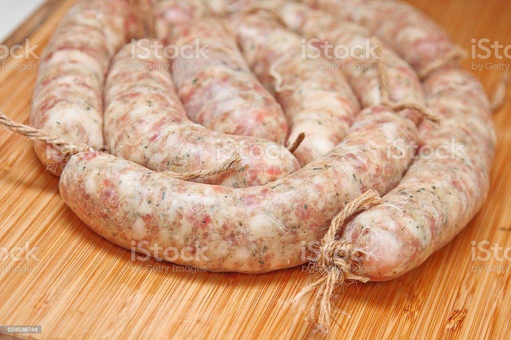 Raw sausage for frying. Ukrainian food. Polish cuisine. stock photo