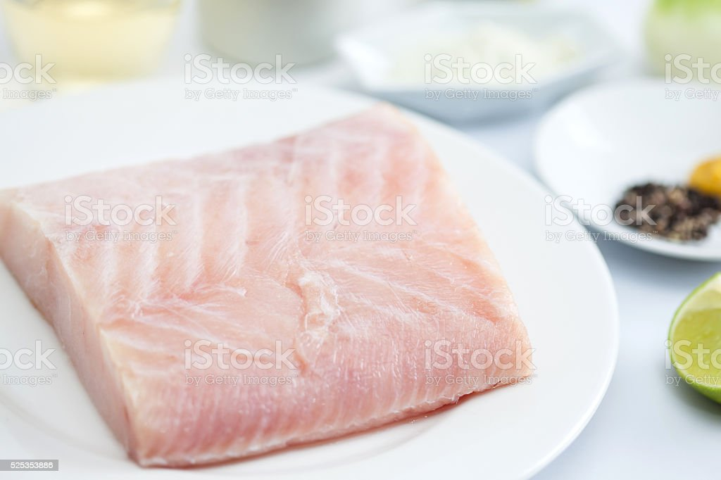 Raw sea bass fillet stock photo