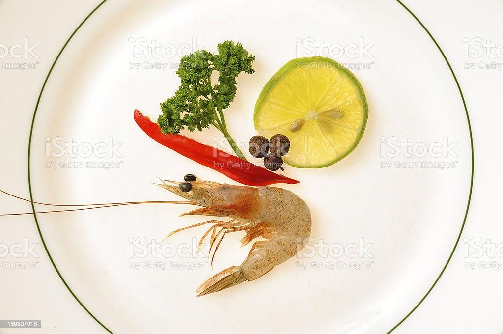 Raw Shrimp decorated royalty-free stock photo